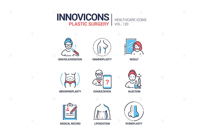 Thumbnail for Plastic surgery - line design style icons set