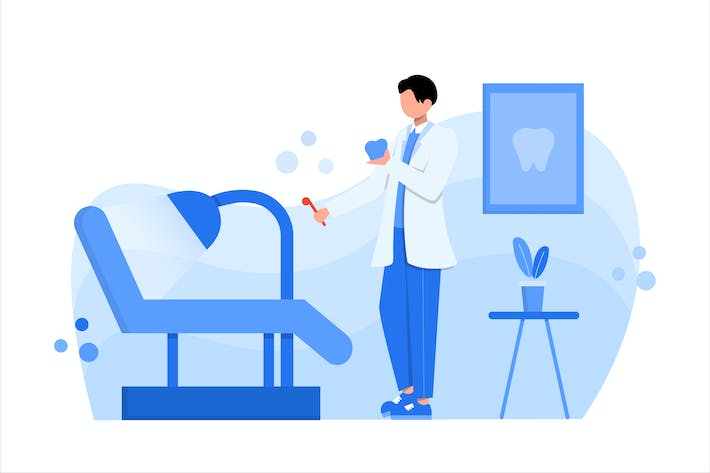 Dental Clinic Flat Vector Illustration