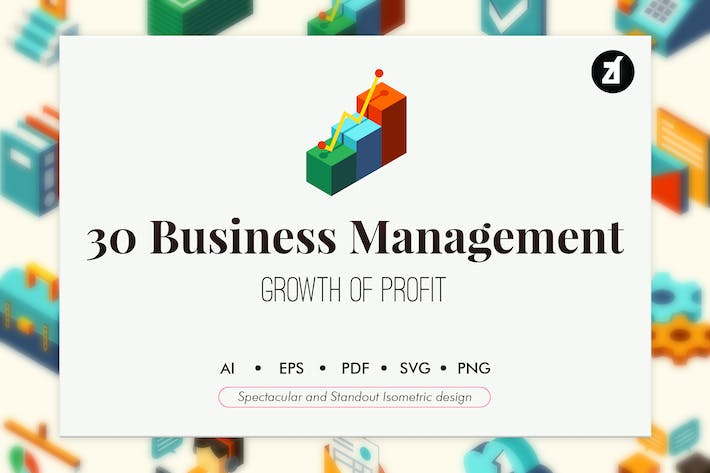 Thumbnail for 30 Business management isometric elements