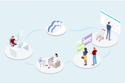Service - CRM Platform Isometric Illustration