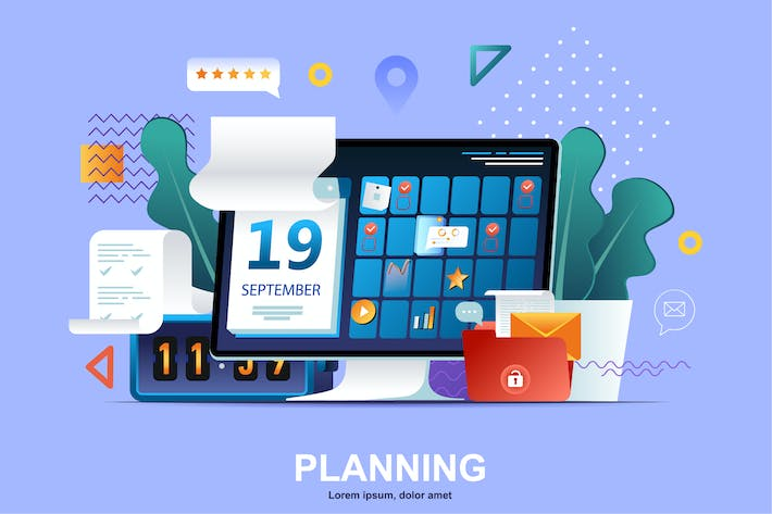 Thumbnail for Planning Flat Concept Vector Illustration