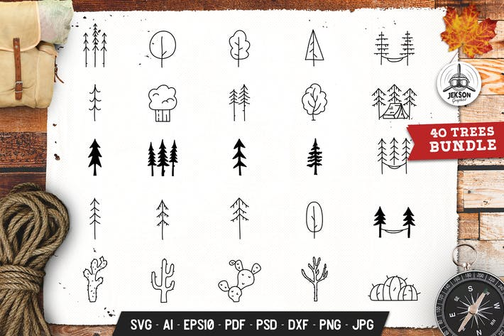 Thumbnail for Forest Trees Set Adventure Line Art Vector Graphic