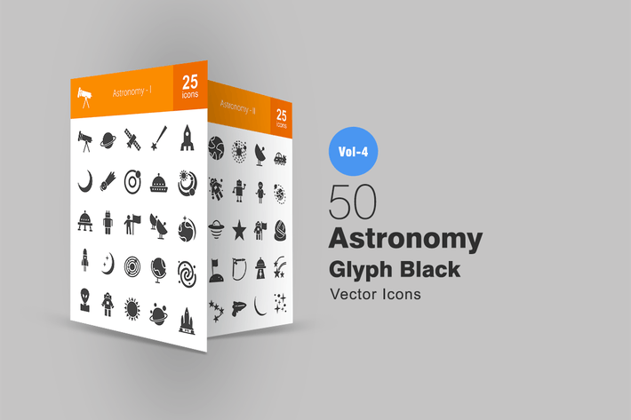 Thumbnail for 50 Astronomy Glyph Icons