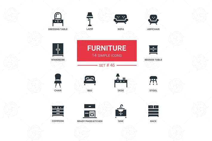 Thumbnail for Furniture - line design icons set
