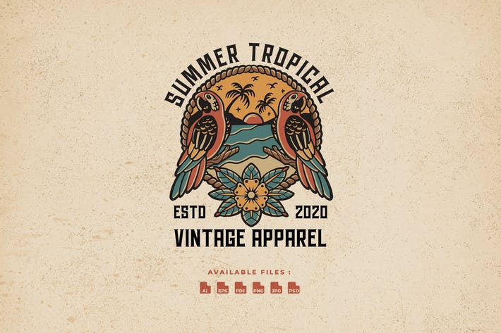 Thumbnail for Logo vintage tropical d'été