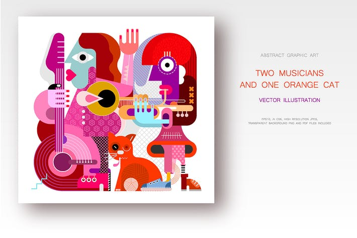 Thumbnail for Two Musicians and One Orange Cat vector artwork