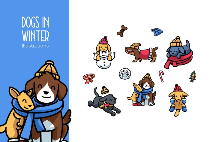 Thumbnail for Dogs in winter illustrations