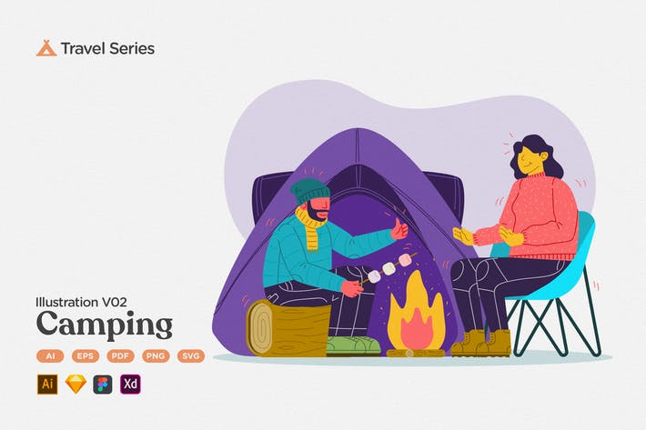 Travel Illustration V02 Nature Camping Fire