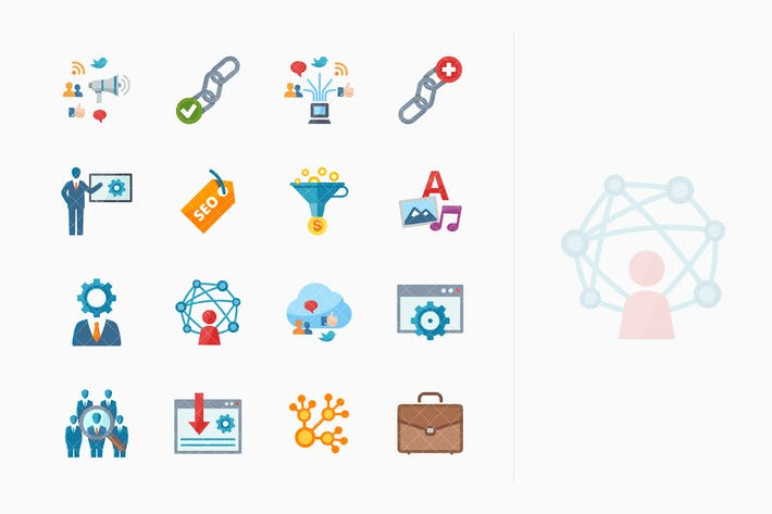 Thumbnail for SEO & Internet Marketing Icons Set 2 - Flat Series
