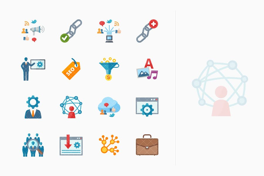 SEO & Internet Marketing Íconos Kit 2 - Serie Plana