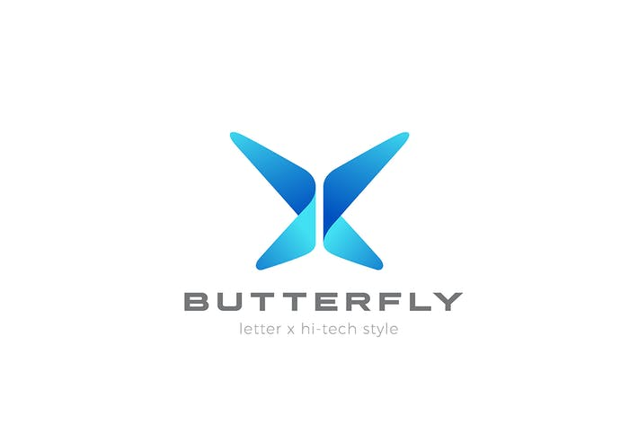 Butterfly Logo abstract Technology style Letter X