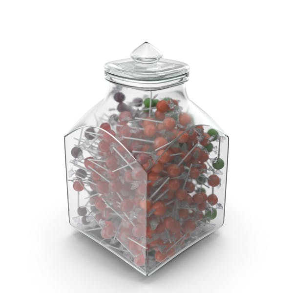 Square Jar With Wrapped Lollipops