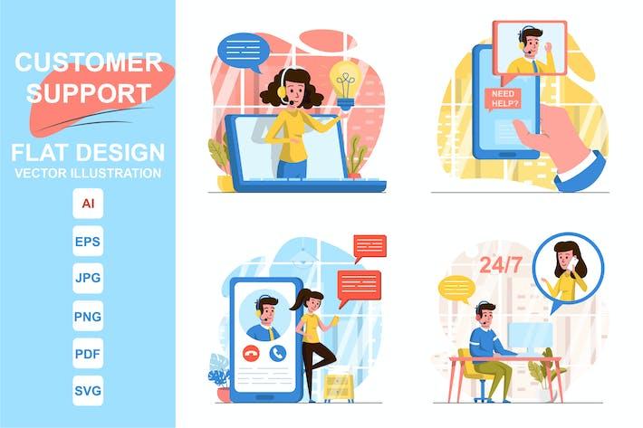 Illustrations Customer Support Flat Design Concept