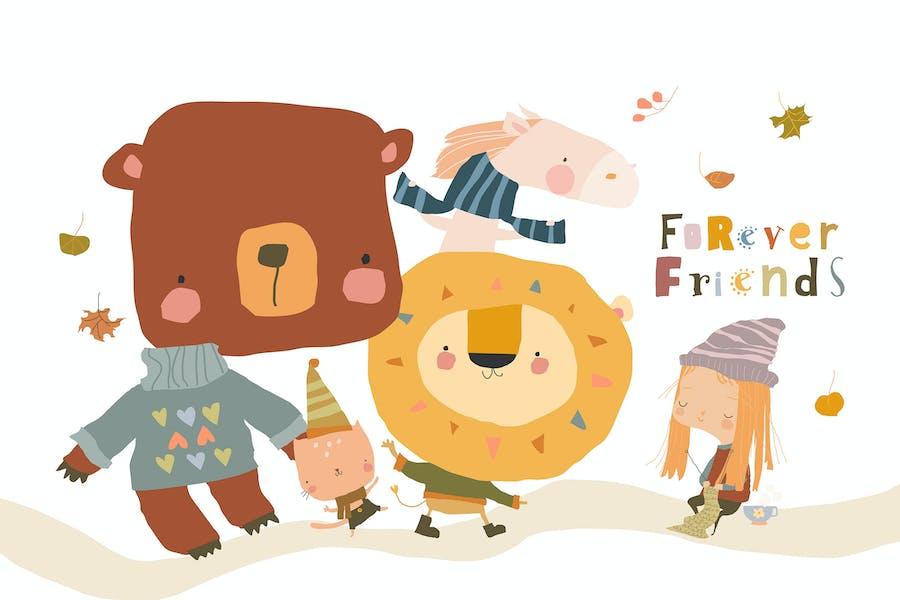 Niña de dibujos animados tejer para sus amigos felices