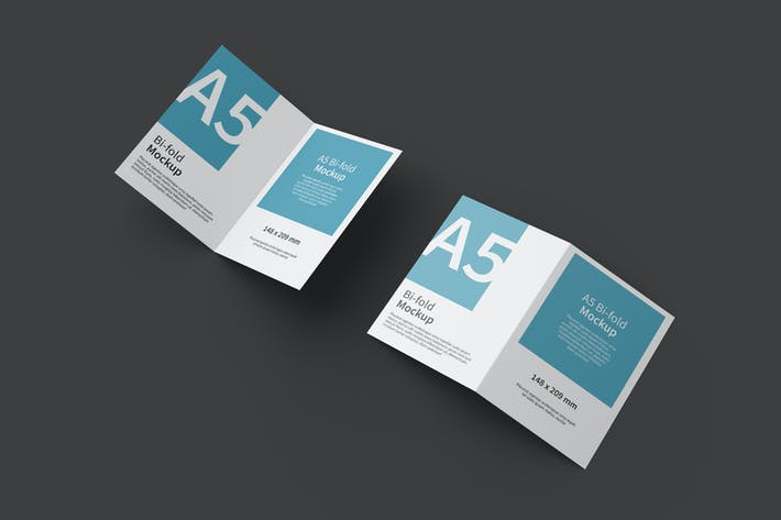 Thumbnail for A5 Bifold Brochure Mockup Top View