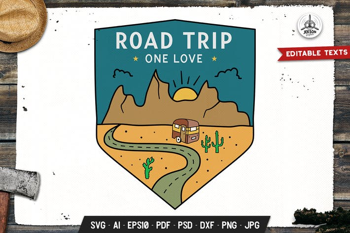 Thumbnail for Road Trip Badge, Vector Travel Retro Graphic Label
