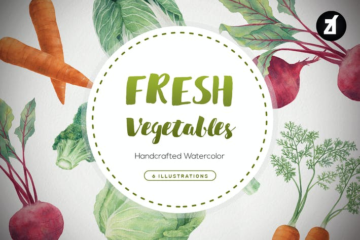 Thumbnail for Fresh vegetables handdraw watercolor illustrations