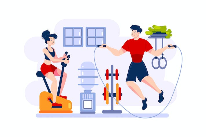 Thumbnail for A woman is cycling on exercise-bike
