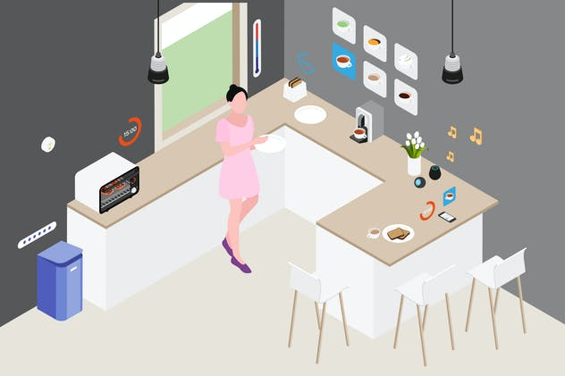 Smart Home Kitchen Isometric Illustration