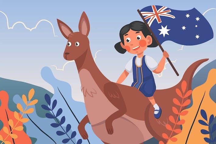 Mädchen feiert Australien-Tag - Illu