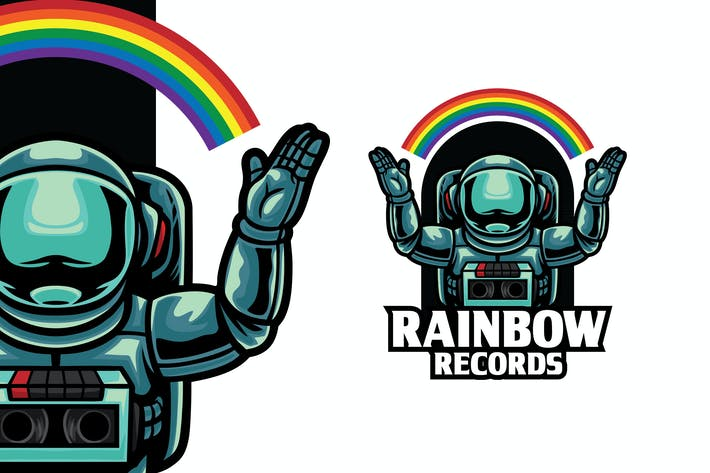 Thumbnail for Astronaut Rainbow Record Logo Mascot Template