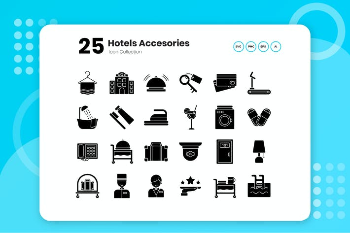Cover Image For 25 Hotel Glyph Icon Set