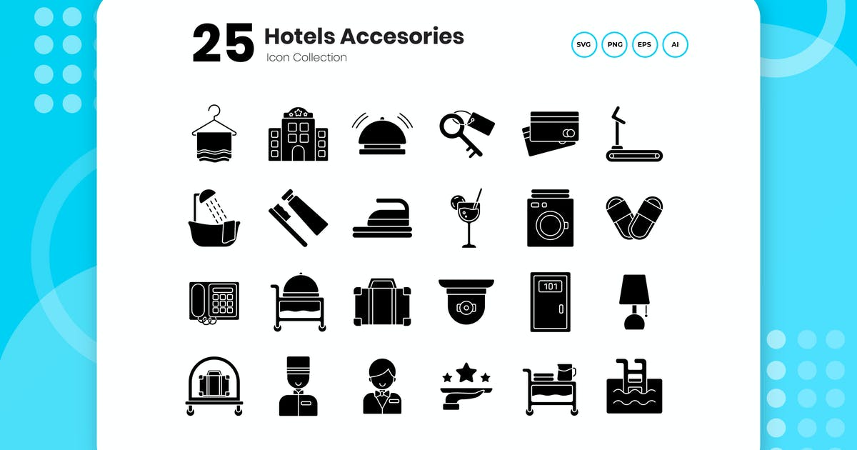 Download 25 Hotel Glyph Icon Set by vectorclans