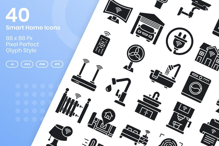 Thumbnail for 40 Smart Home Icons Set - Glyph