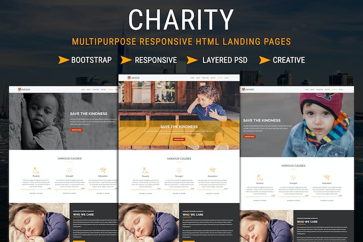 Thumbnail for CHARITY - Responsive HTML Landing Pages