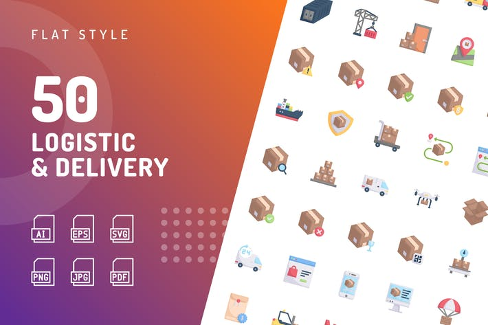 Thumbnail for Logistic Delivery Flat Icons