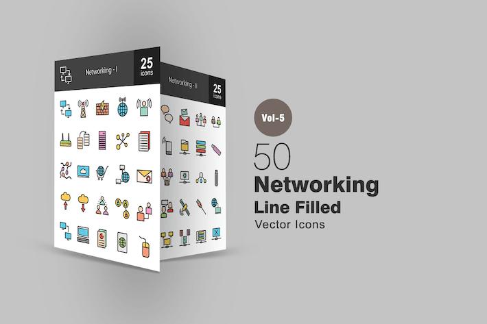 Thumbnail for 50 Icones remplies de ligne réseau