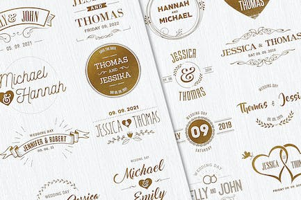 30 Wedding Badges / Save the Date Titles