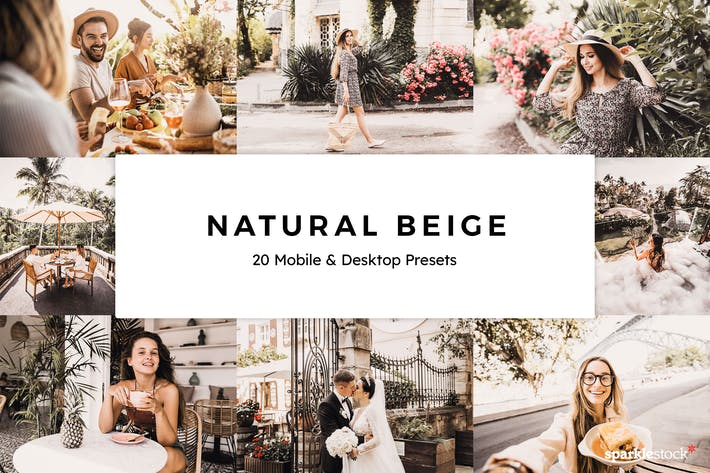 Thumbnail for 20 Natural Beige Lightroom Presets & LUTs