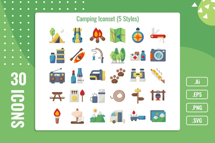 Thumbnail for 30 Iconset Camping mit 5 Stilen Variante
