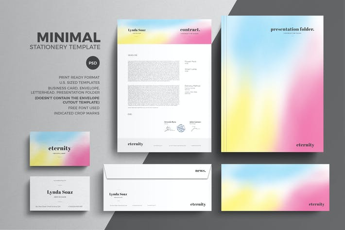 thumbnail for minimal stationery design template