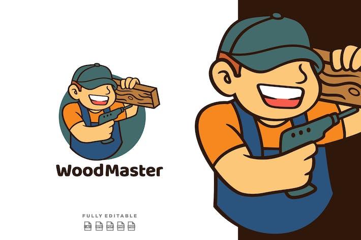 Thumbnail for Cartoon Retro Smiling Carpenter Mascot Logo