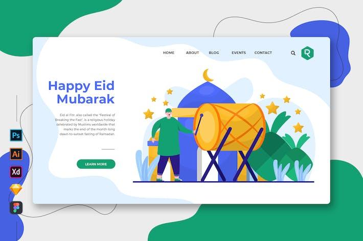 Thumbnail for Happy Eid Mubarak - Web & Mobile Landing Page