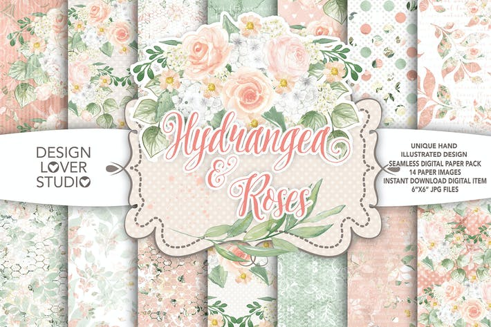 Thumbnail for Watercolor Hydrangea and roses digital paper pack