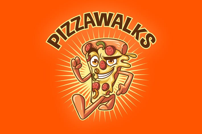 Thumbnail for Cartoon Walking Pizza Mascot Logo