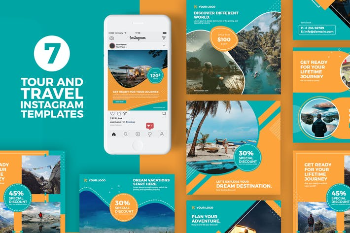 Thumbnail for Tour and Travel Instagram Templates