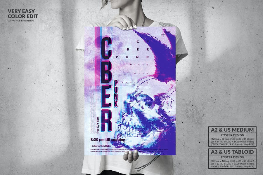 Cyber Punk Music Party - Big Poster Design