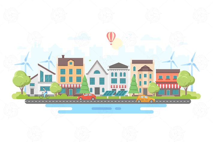 Thumbnail for Eco-friendly city district - vector illustration