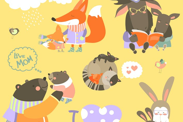 Thumbnail for Vector set of cute animals with their cubs