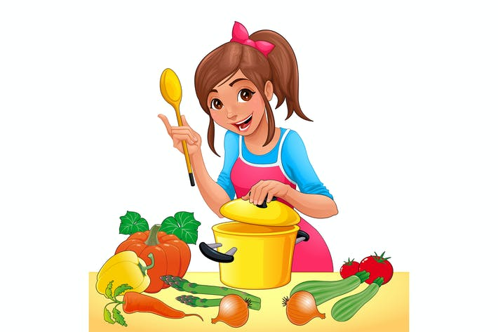 Thumbnail for Girl is Cooking with Several Vegetables