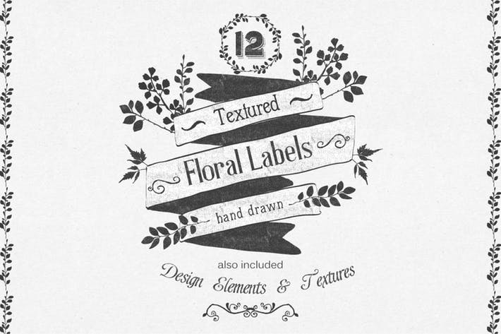 Thumbnail for Hand Drawn Floral Labels and Design Elements
