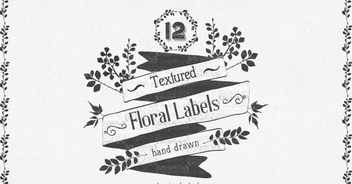 Download Hand Drawn Floral Labels and Design Elements by AnnaIvanir