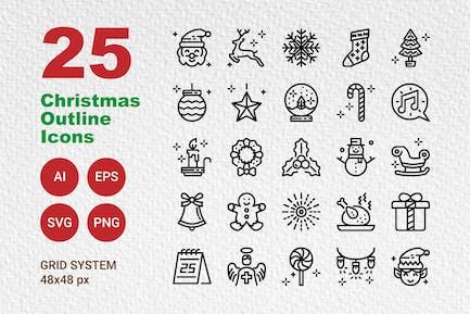 25 Stylish Christmas Outline Icons