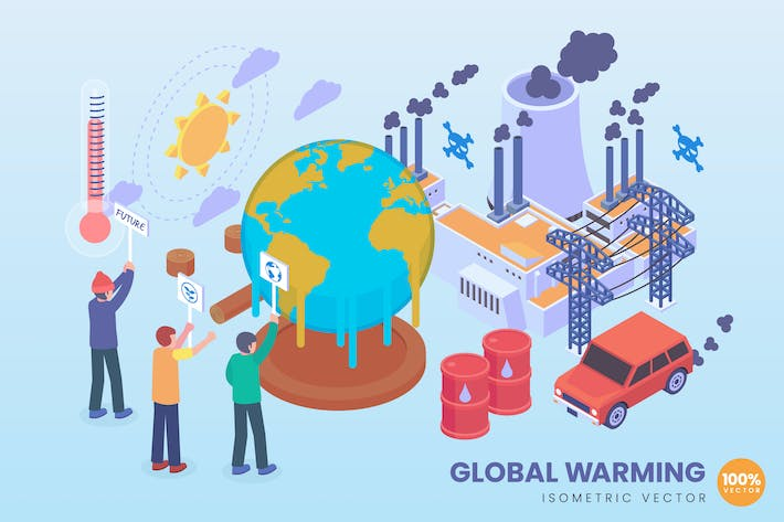 Thumbnail for Isometric Global Warming Vector Concept