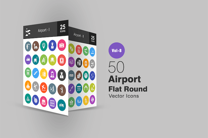 Thumbnail for 50 Airport Flat Round Icons