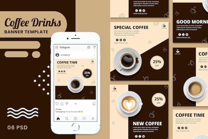 Thumbnail for Coffee Drinks Banner Templates